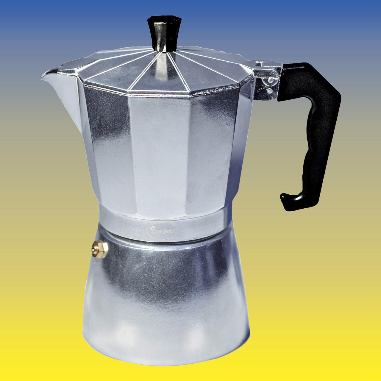 Гейзерная кофеварка, серебристая на 300 мл.