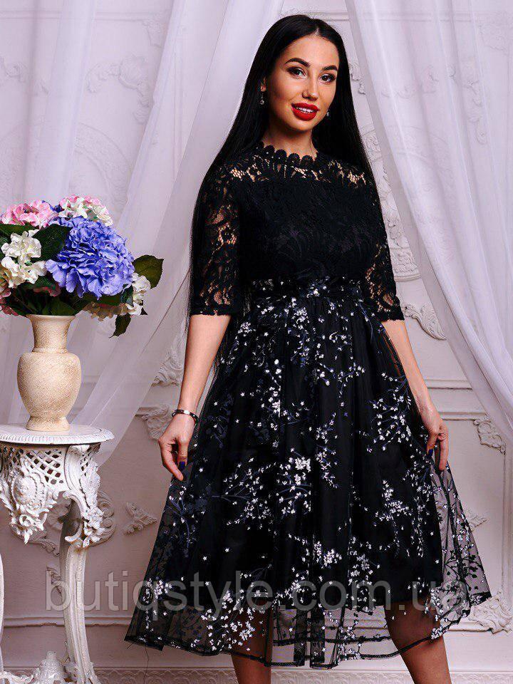 Элегантное женское черное платье с цветочным узором набивное кружево и органза тренд 2018