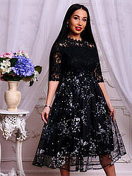 2dae384893c Элегантное женское черное платье с цветочным узором набивное кружево и  органза тренд 2018