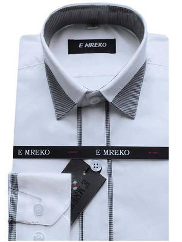 Рубашка для мальчика белая комбинированная длинный рукав Emreko, фото 2