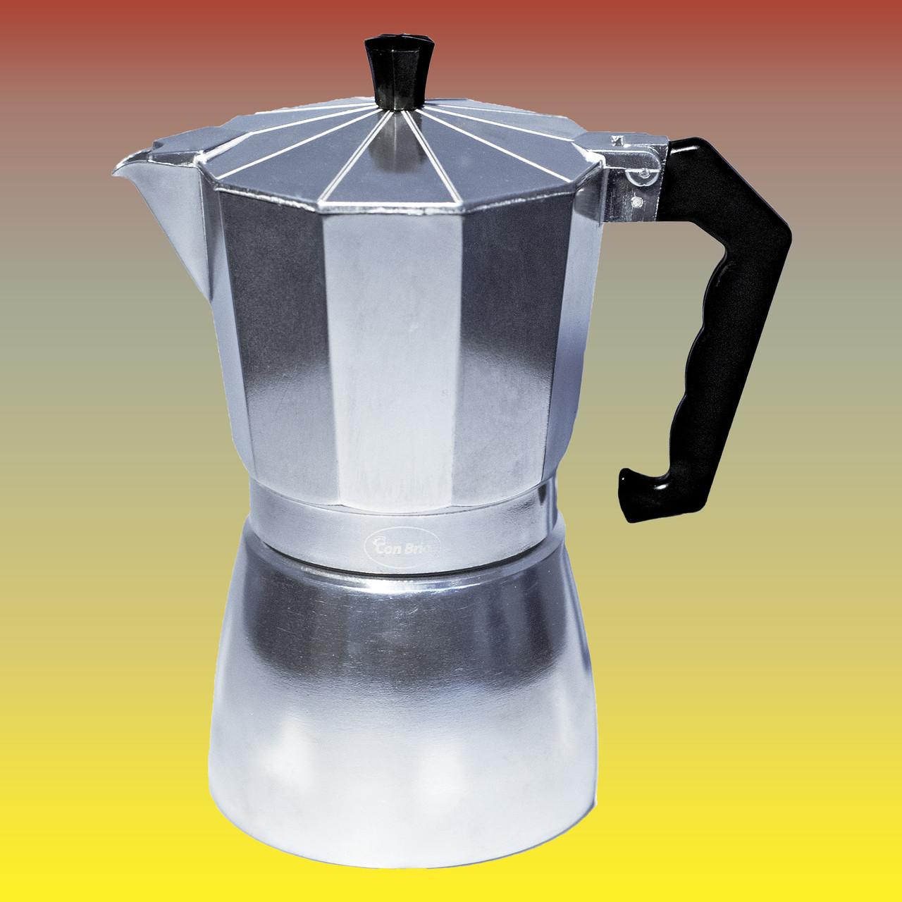 Гейзерная кофеварка, серебристая на 450 мл.