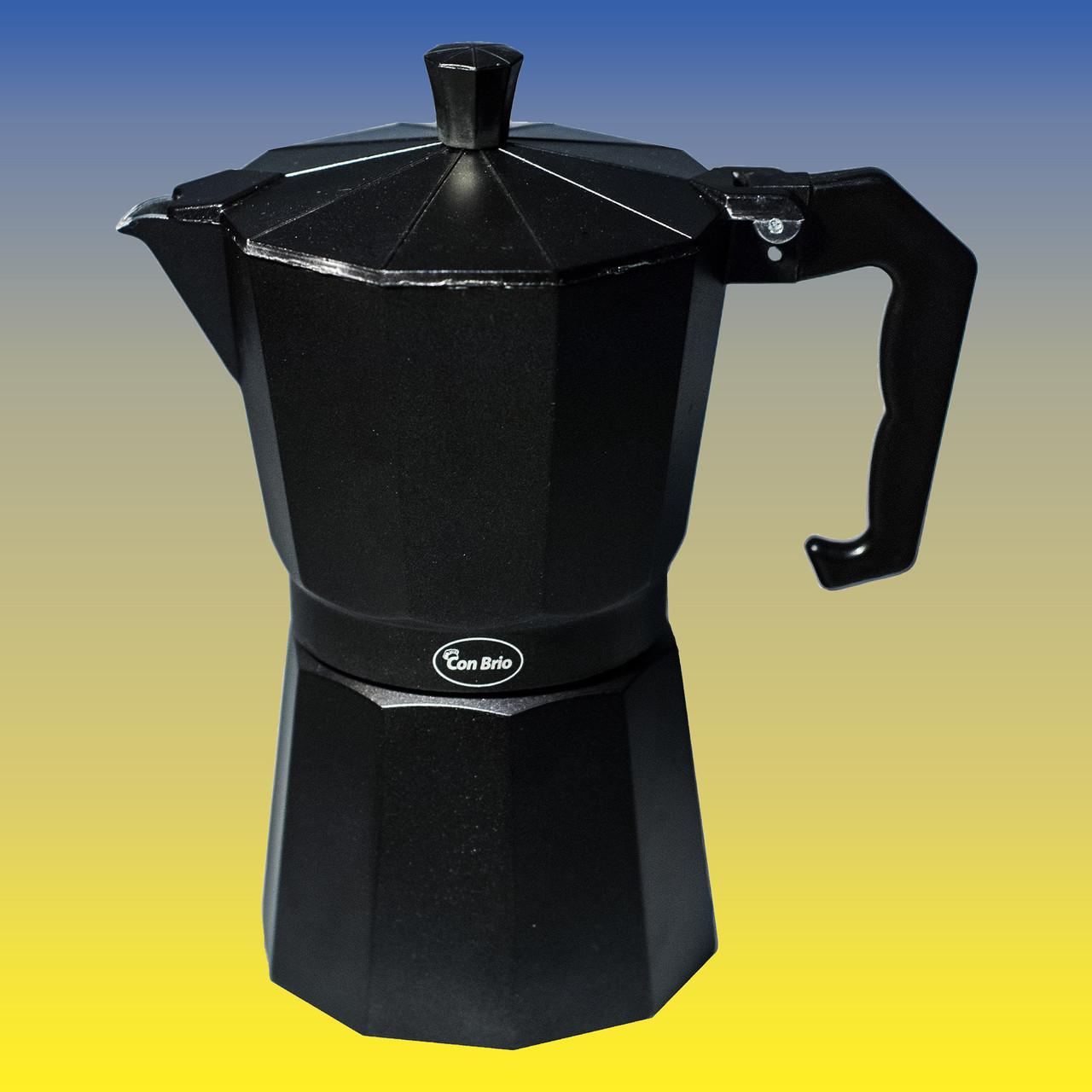 Гейзерная кофеварка, чёрная на 300 мл.