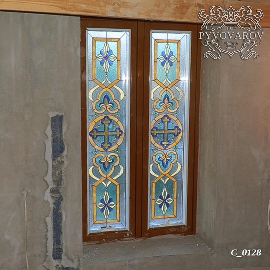Церковные витражи в двустворчатые окна