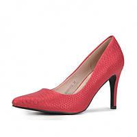 Женские туфли на каблуке. Красные. 00881012, фото 1