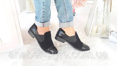 Туфли из натуральной замши черного цвета со вставками натуральной лаковой кожи + резинка код 1500 AR, фото 2