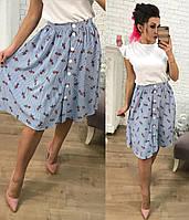 Красивая юбка-колокол на пуговицах по всей длине миди с принтом цветов и полоски