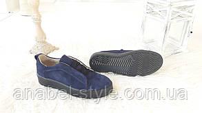 Кеды женские из натуральной замши стнего цвета на шнуровке Код 1501 AR, фото 2