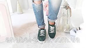 Кеды женские стильные из натуральной замши зеленого цвета шнуровка Код 1503 AR, фото 2