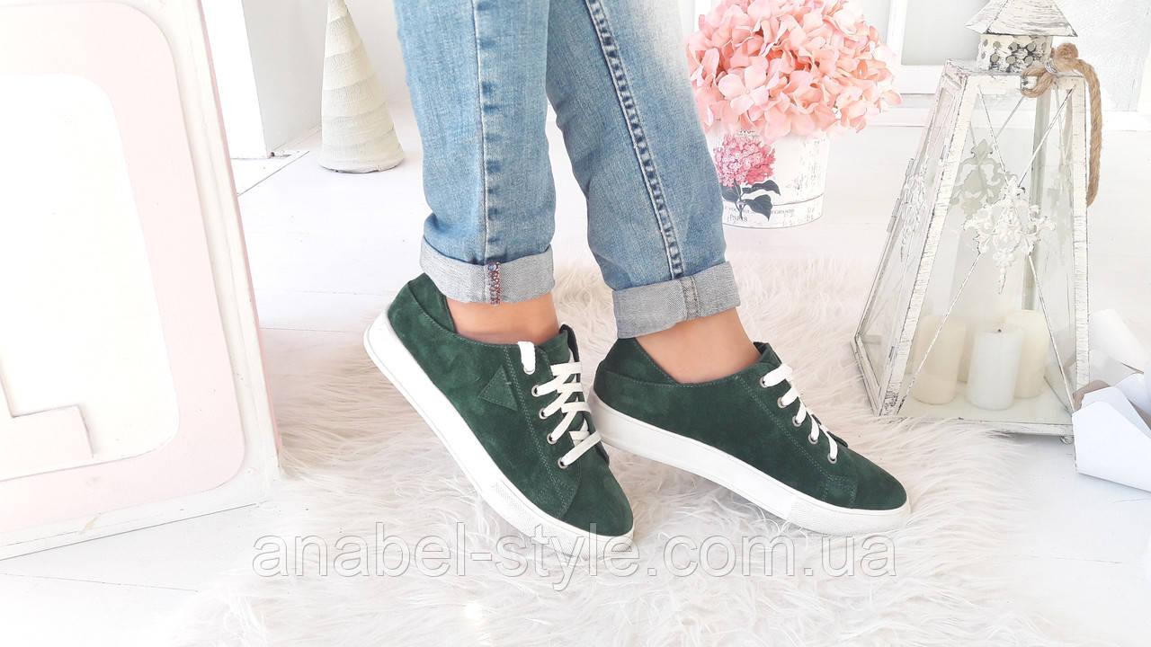 Кеды женские стильные из натуральной замши зеленого цвета шнуровка Код 1503 AR