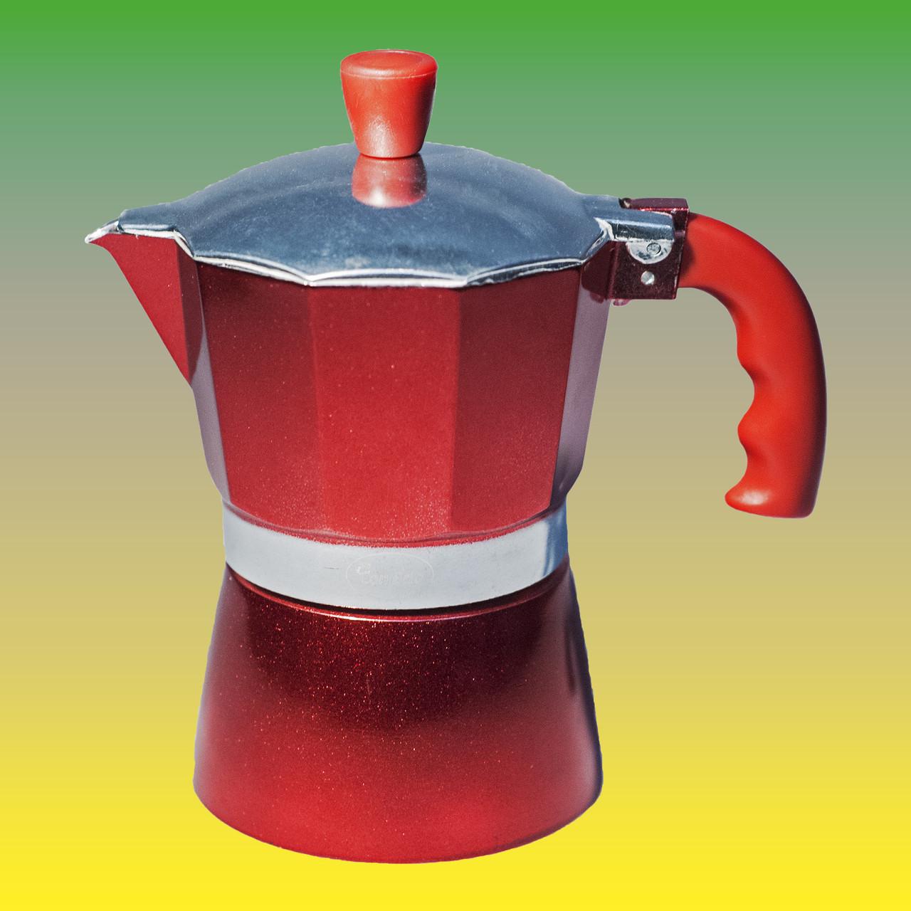 Гейзерная кофеварка, красная на 150 мл.