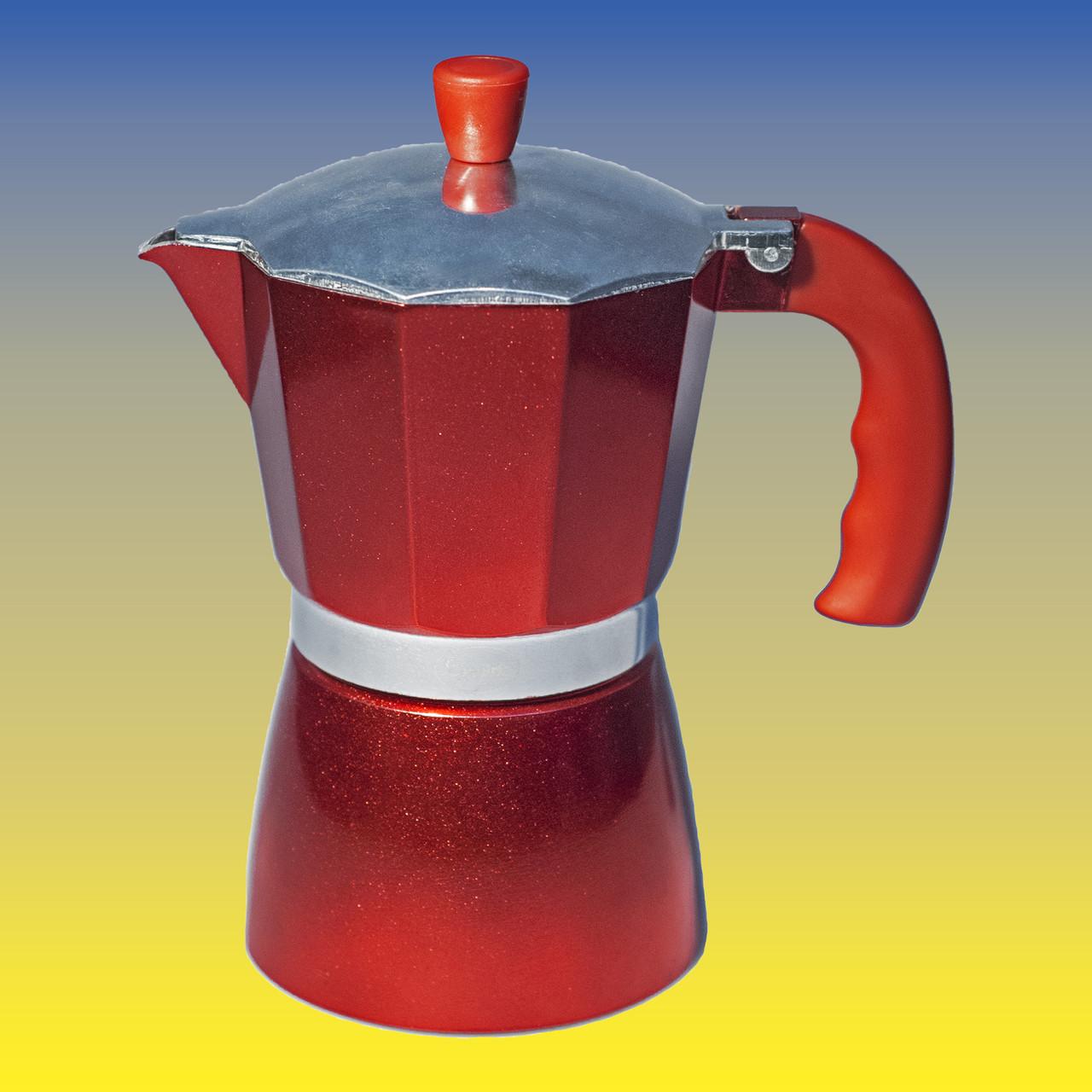 Гейзерная кофеварка, красная на 300 мл.
