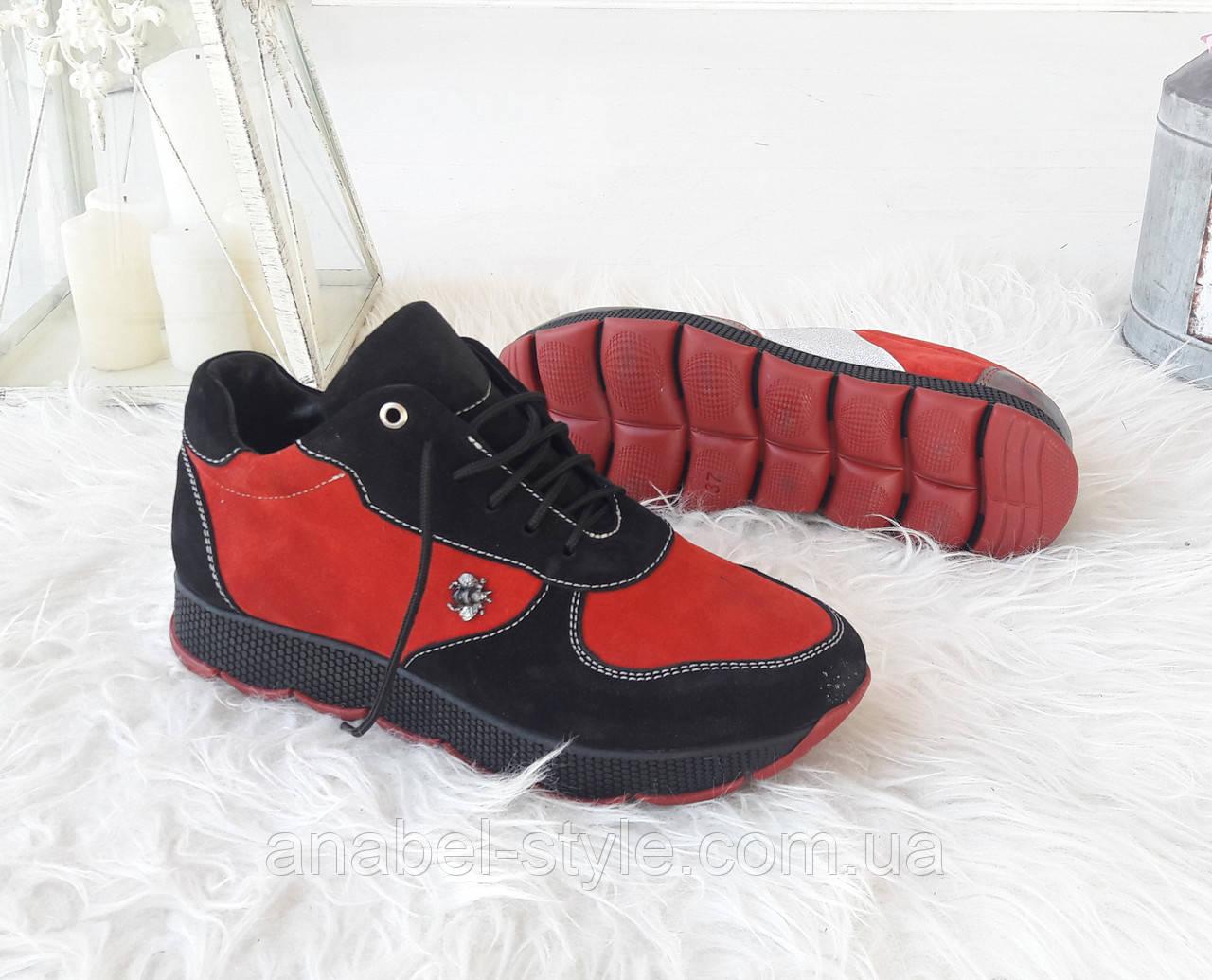 Кроссовки женские стильные из натуральной замши на шнуровке цвета черный+красный Код 1509 AR