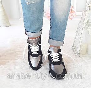 Кроссовки женские стильные из натуральной замши и кожи на шнуровке цвета белый+черный+серый Код 1513 AR, фото 2