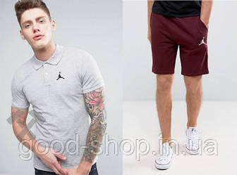 Мужской комплект поло + шорты Jordan серого и красного цвета (люкс копия)