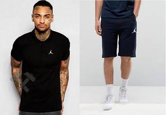 Мужской комплект поло + шорты Jordan черного и синего цвета (люкс копия)