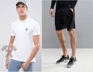 Мужской комплект поло + шорты Jordan белого и черного цвета (люкс копия)