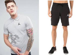 Мужской комплект поло + шорты Jordan серого и черного цвета (люкс копия)