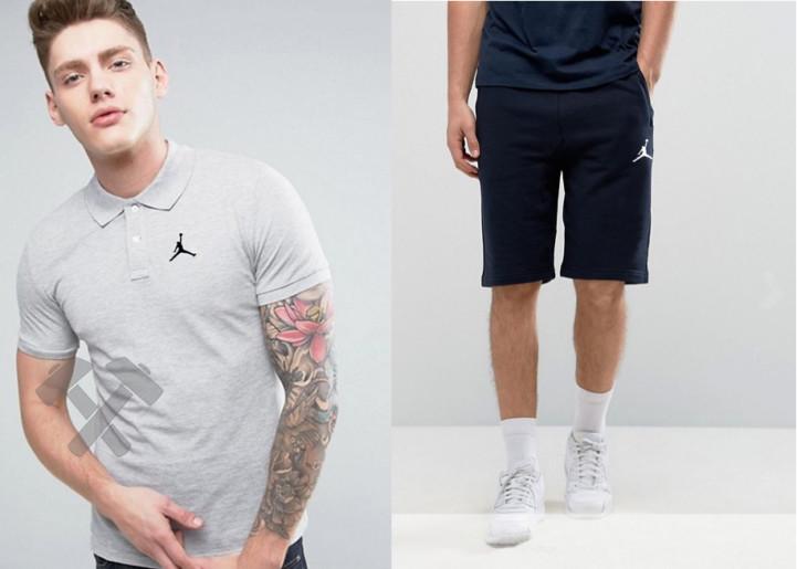 Мужской комплект поло/футболка и шорты Джордан (Jordan), поло и шорты Jordan,мужская тенниска, копия