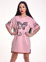 Красивое короткое котоновое платье туника с аппликациями и стразами белая, розовая, синяя, черное
