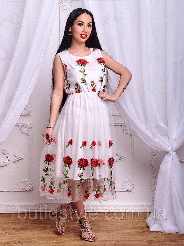 417e87325b5dad5 Красивое женское платье с органзой и вышивкой белое, молоко, черное -