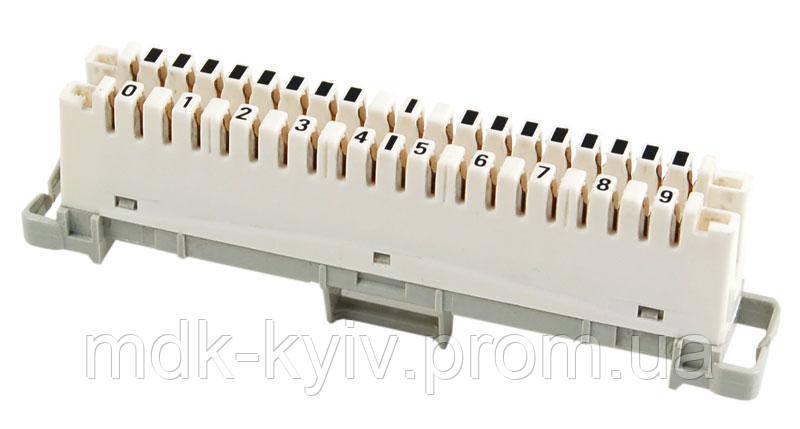 Плинт 2х10 с нормально замкнутыми контактами, тип KRONE, крепление на монтажный хомут, маркировка 0...9