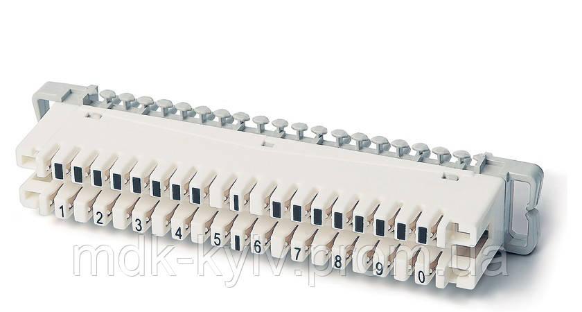 Плинт 2х10 с размыкаемыми контактами, крепление на хомут, аналог 6089 1 102-02 KRONE (марк. пар 1...0), Китай