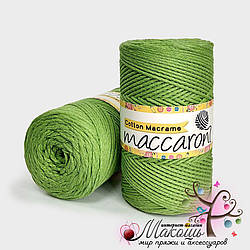 Пряжа Maccaroni Cotton Macrame Коттон Макраме, 207, зеленое-яблоко