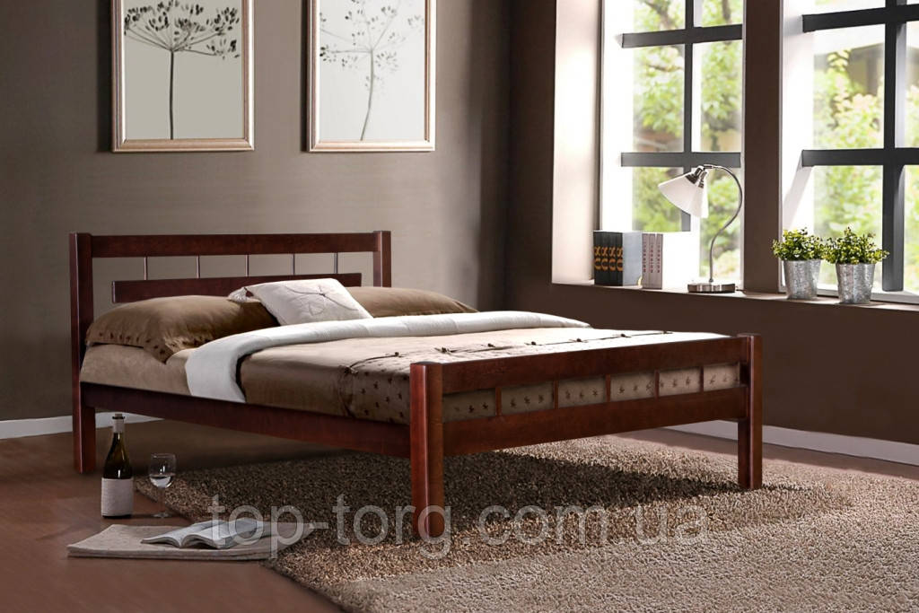 Кровать Альмерия 1,6, цвета: орех и каштан. Дерево Ольха