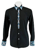 Черная строгая эксклюзивная мужская вышиванка с отложным воротником.