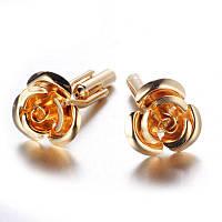 Запонки цветок Золотая роза - символ изящества, который не уколит, фото 1