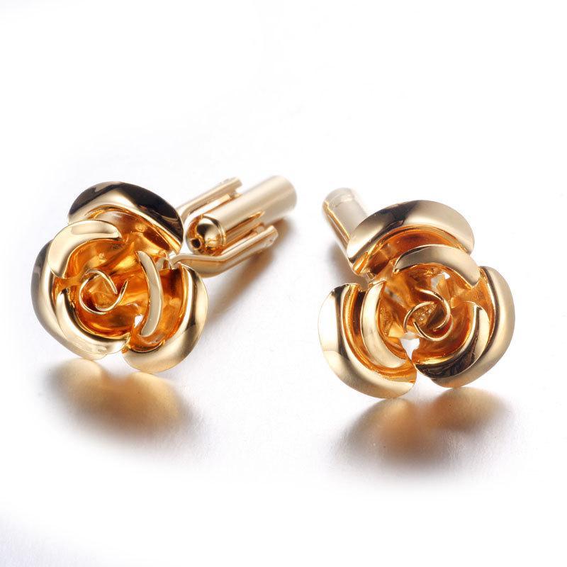 Запонки цветок Золотая роза - символ изящества, который не уколит
