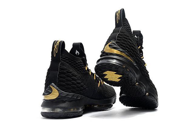 Nike LeBron XV 15 Black Gold Bottom Tan