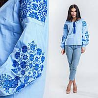 Красивая вышитая блуза для женщин, хлопковая ткань, 540/490 (цена за 1 шт. + 50 гр.)