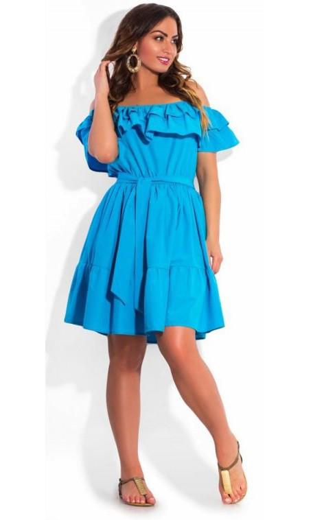 Платье на лето голубое размеры от XL ПБ-123