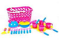 Посуда в корзинке, сковорода чайник, 4 чашки и др.(розовая) KW-04-438