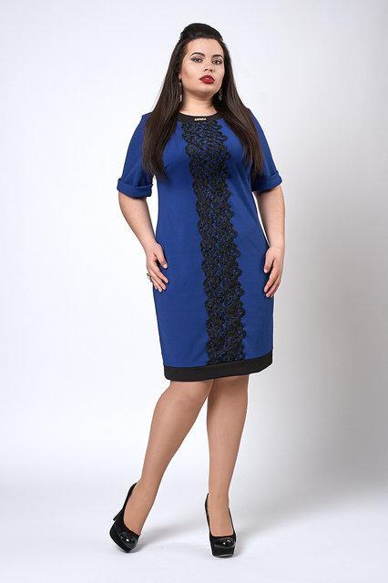 50efab24560 Нарядное синее платье с кружевом полубатальное - купить по лучшей ...