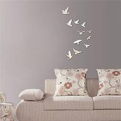 """Наклейки на стену акриловые зеркальные """"Птички"""" (11 шт.)"""