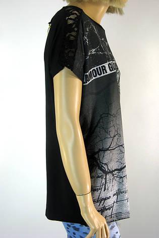 жіноча чорна футболка з мереживом на рукавах  Charlize, фото 2