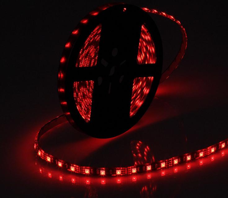 Светодиодная лента LED на черной основе, 12V , SMD5050, 60 д/м, красный
