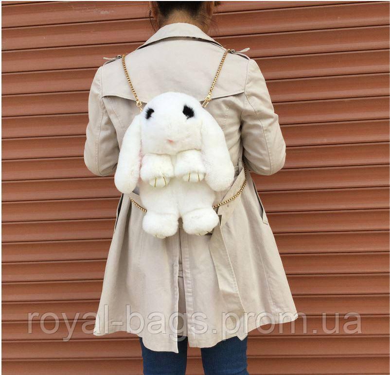"""Меховая сумка-рюкзак """"Заяц"""" 15 Цветов Белый"""