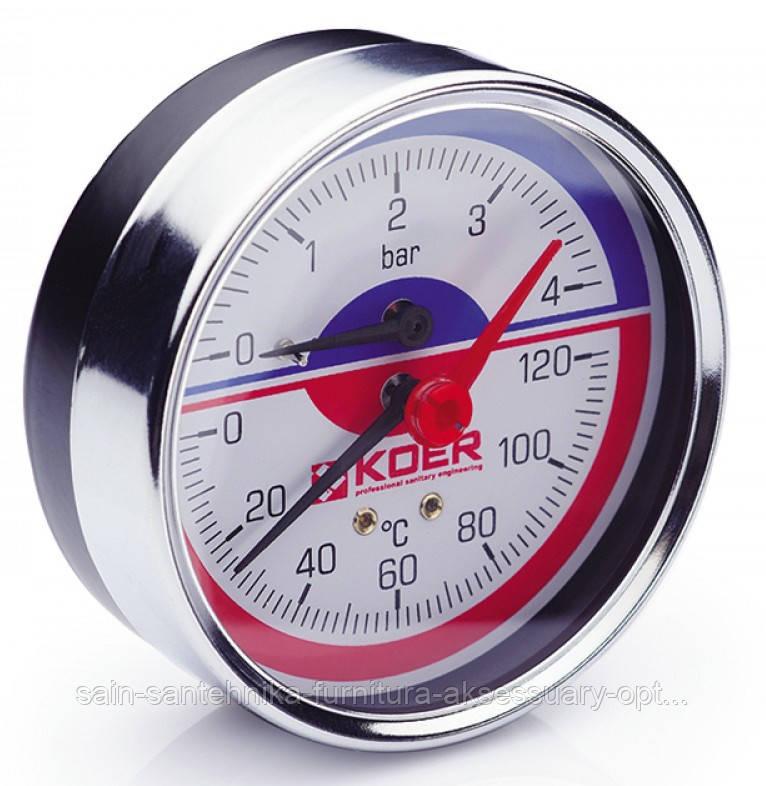 Термо-Манометр аксиальный 812A 4 bar, D=80мм, 1/2''