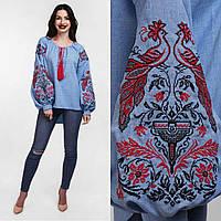 Вышитая женская блуза, спинка удлиненная, 100% хлопок, 540/490 (цена за 1 шт. + 50 гр.)