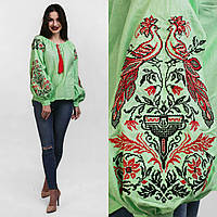 Нарядная хлопковая блуза с вышивкой женщинам, удлиненная спинка, 540/490 (цена за 1 шт. + 50 гр.)