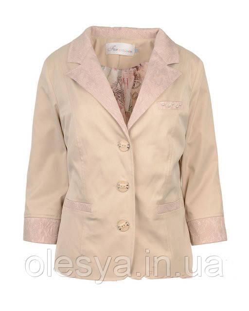 Женский летний пиджак с гипюром большие размеры 50- 60