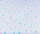 """Лоскут ткани №1181  """"Звёздная россыпь"""" с мятными и розовыми звёздами на белом фоне , фото 2"""