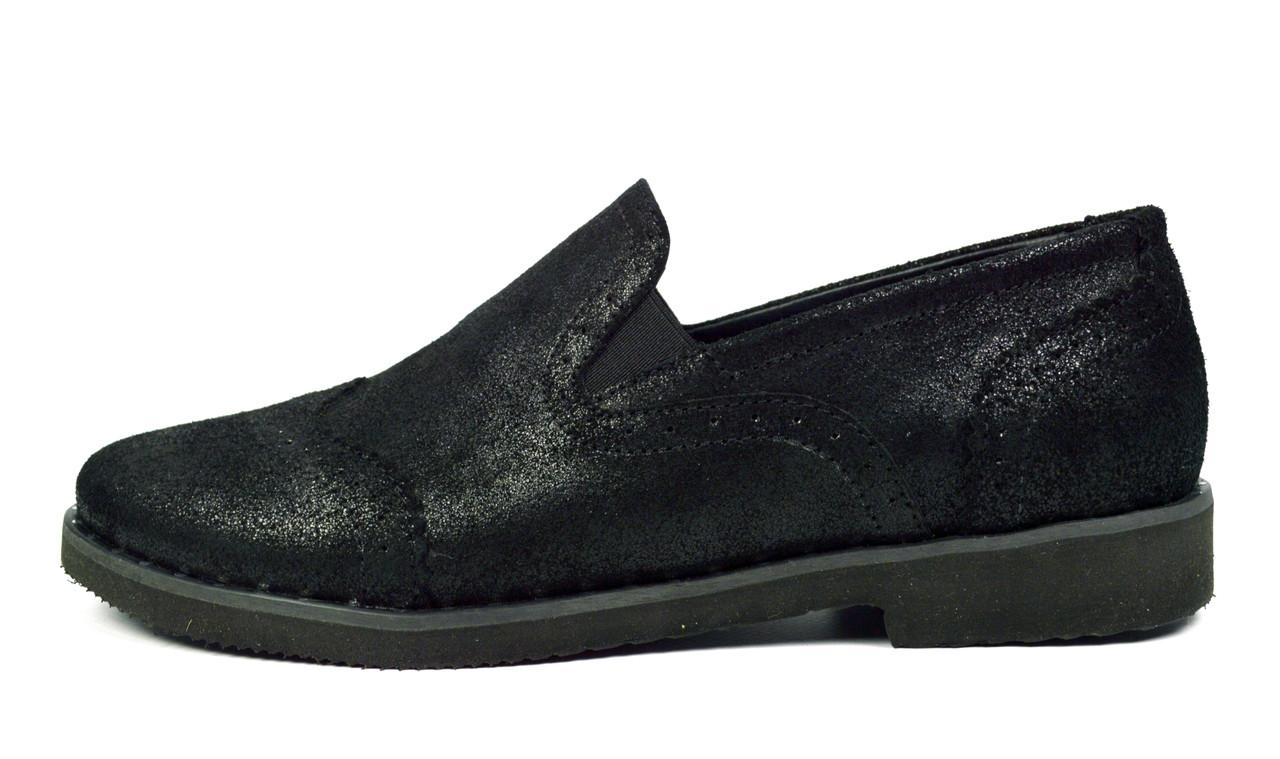 Черные женские кожаные туфли LEANY на низком ходу