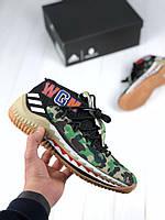 Мужские кроссовки Bape x Adidas Dame 4 camo green, топ реплика, фото 1
