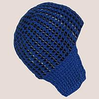 Женская вязаная шапка-ушанка на подкладке с элементами кожи васильковогоцвета