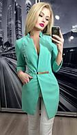 Пиджак женский удлиненный ft-243 бирюзовый