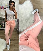 Укороченные женские брюки с белыми лампасами креп-костюмка Размеры 42 44 46